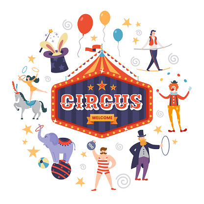 Colorful circus sign with text, tent and ribbon in retro style. Funny circus artists and animals. Vector illustration.
