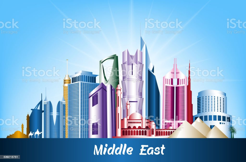 Colorful Cities and Famous Buildings in Middle East vector art illustration