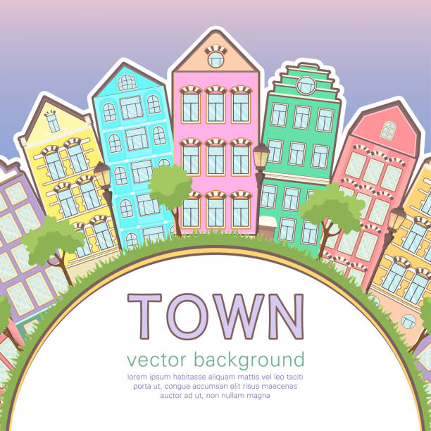 Colorful city background, abstract stylized houses card, banner, cover. Multicolored European houses in row, sunset sky, lawn, lights and trees and space for text, flat drawing, vector Colorful city background, abstract stylized houses card, banner, cover. Multicolored European houses in row, sunset sky, lawn, lights and trees and space for text, flat drawing, vector illustration dollhouse stock illustrations