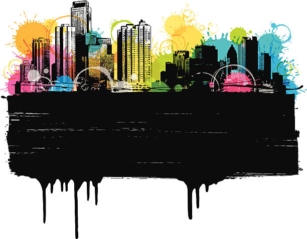 colorful city banner - graffiti backgrounds stock illustrations, clip art, cartoons, & icons