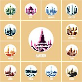 colorful city icons, modern flat style travel destinations icons