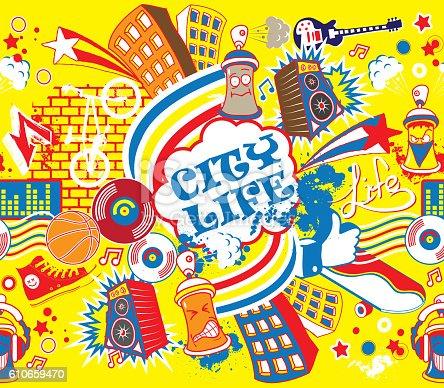 Colorful city life horizontal seamless pattern.