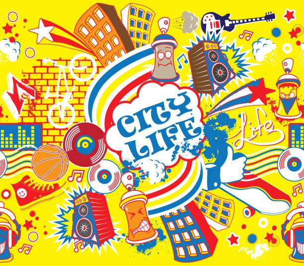 bildbanksillustrationer, clip art samt tecknat material och ikoner med colorful city life horizontal seamless pattern. urban city vector illustration - street dance