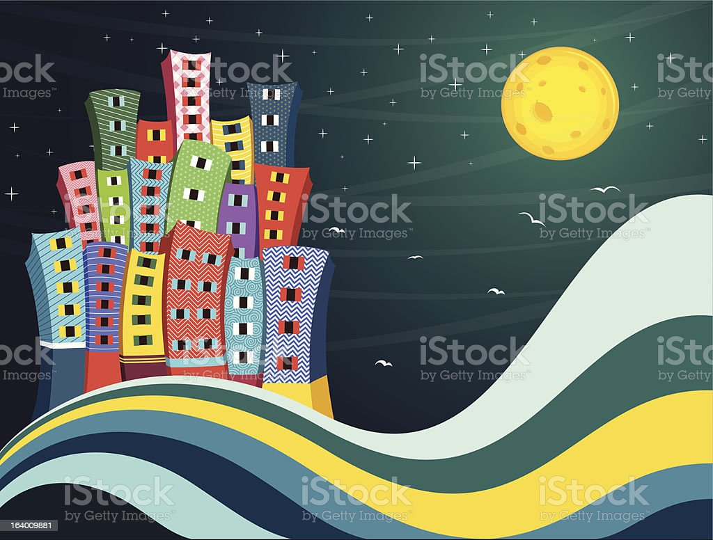 Colorful City Night Vector Illustration royalty-free stock vector art