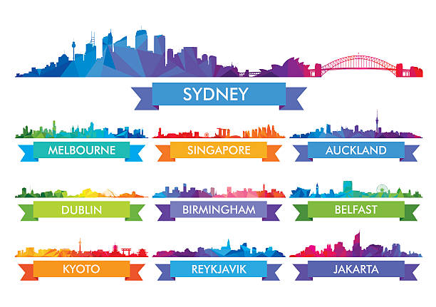 colorful city skyline australia and the island country - melbourne stock illustrations