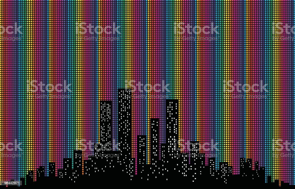 colorful City Skyline with polka dots illustration silhouette royalty-free stock vector art