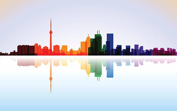 colorful city toronto panorama, vector - toronto stock illustrations