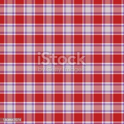 istock Colorful classic plaid tartan seamless squared pattern 1308647074