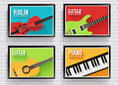 Colorful classical musical instruments backgroun