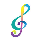 colorful clef. musical symbol
