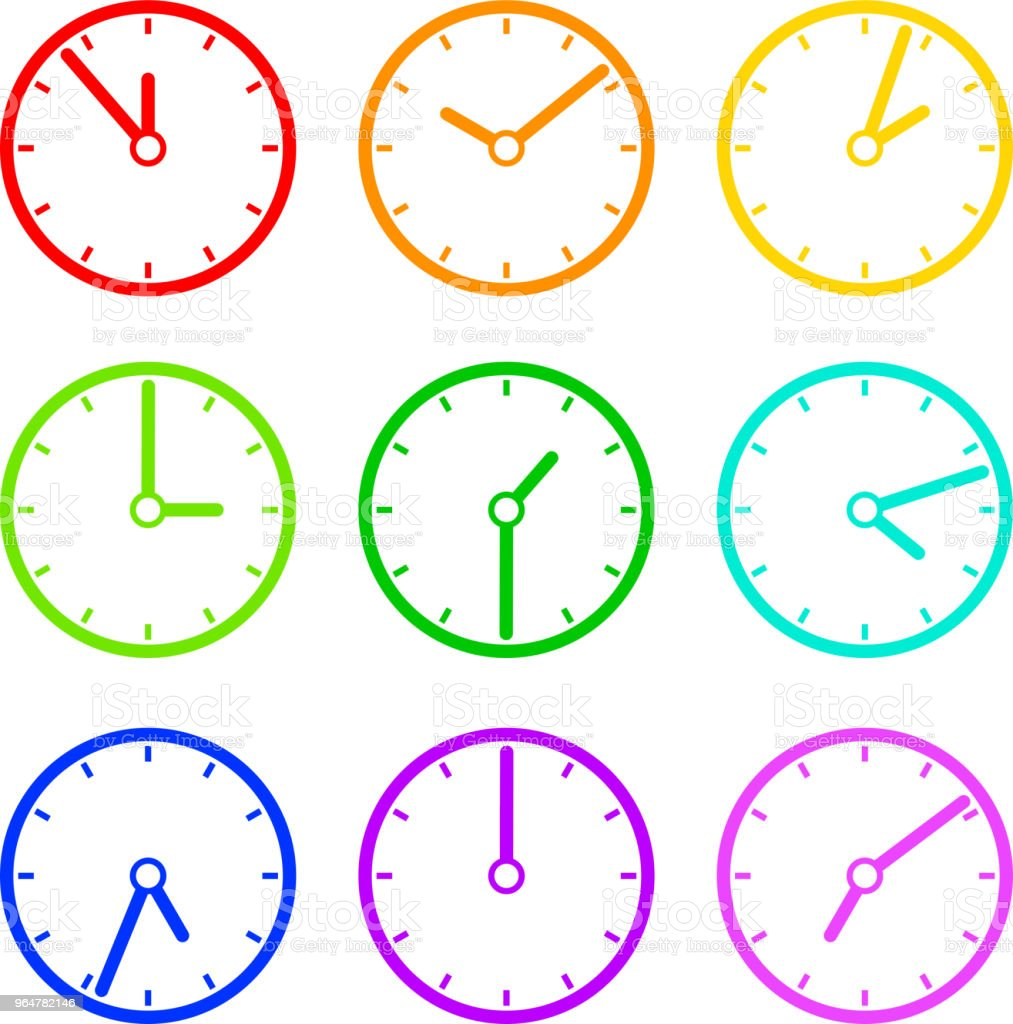 Colorful Clock illustration set royalty-free colorful clock illustration set stock vector art & more images of business