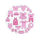 Colorful clothes for newborn baby girl. Vector design templates for greeting gift cards, flyers etc.