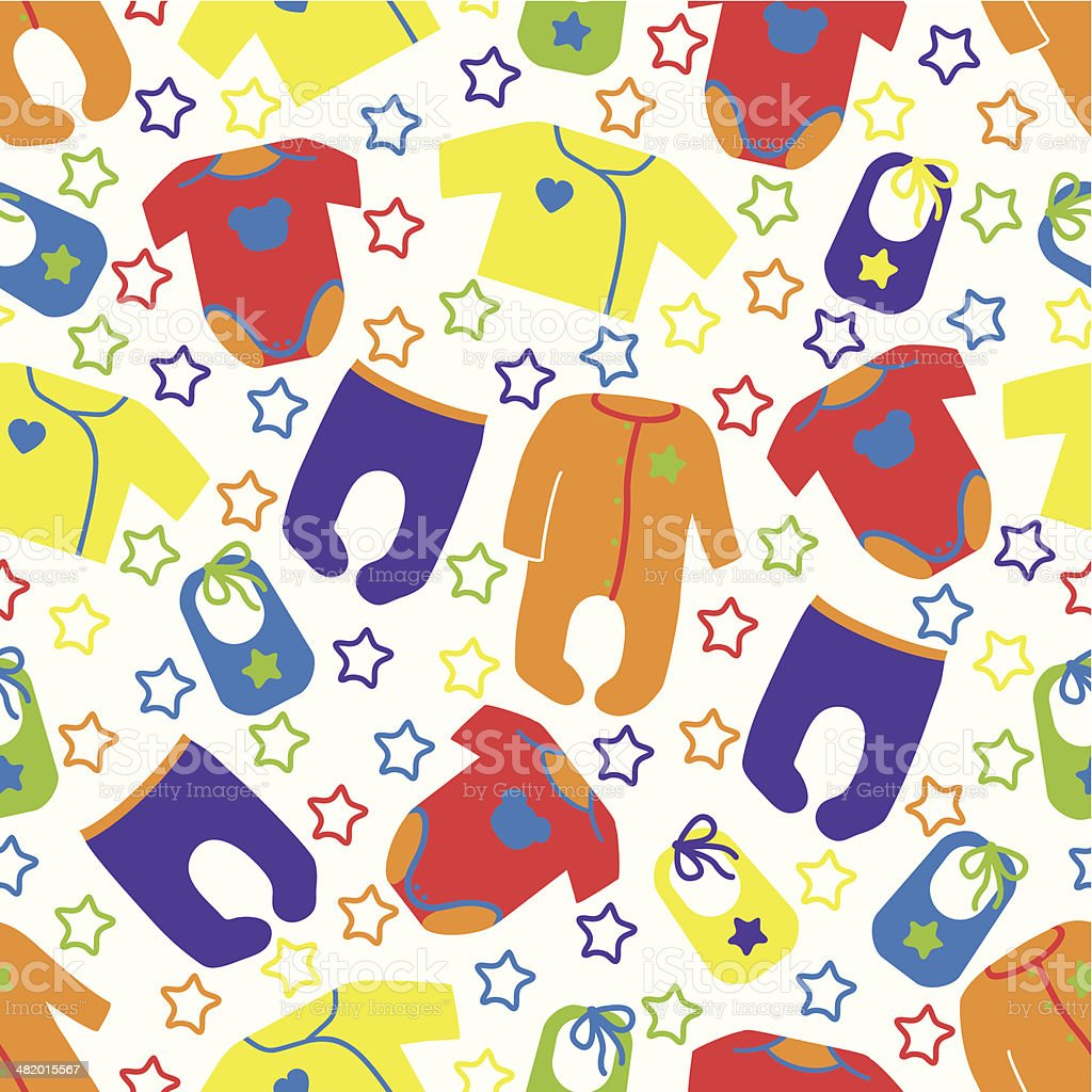 Colorful clothes for newborn baby seamless pattern with stars.