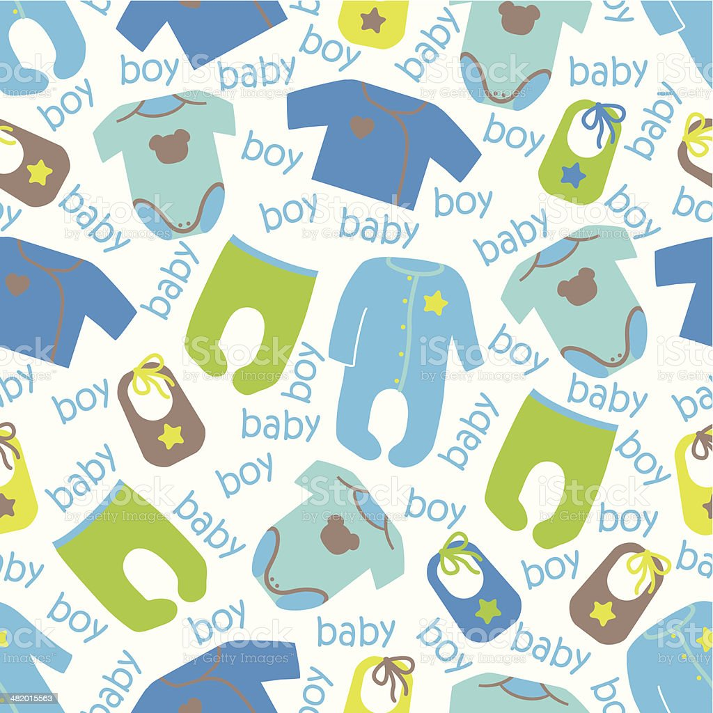 Colorful clothes for newborn baby seamless pattern.Baby fashion