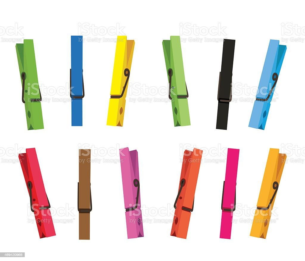 Colorful clothespin set vector art illustration