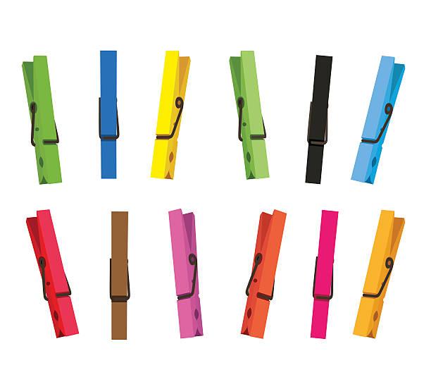 na clothespin zestaw - spinacz artykuł biurowy stock illustrations