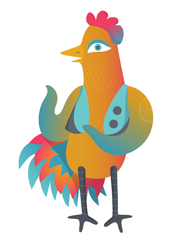 Colorful cock with sun tattoo in waistcoat. Isolated illustration in cartoon style. Chinese New Year symbol design.