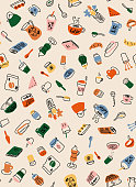 Brunch and teatime hand drawn icons for backgrounds, textile, wrapping paper and wallpaper