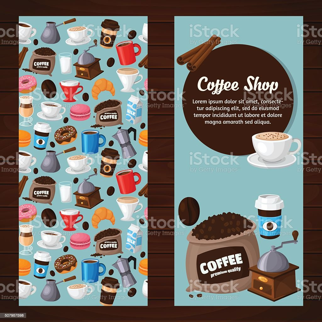 Colorful coffee vector banners vector art illustration