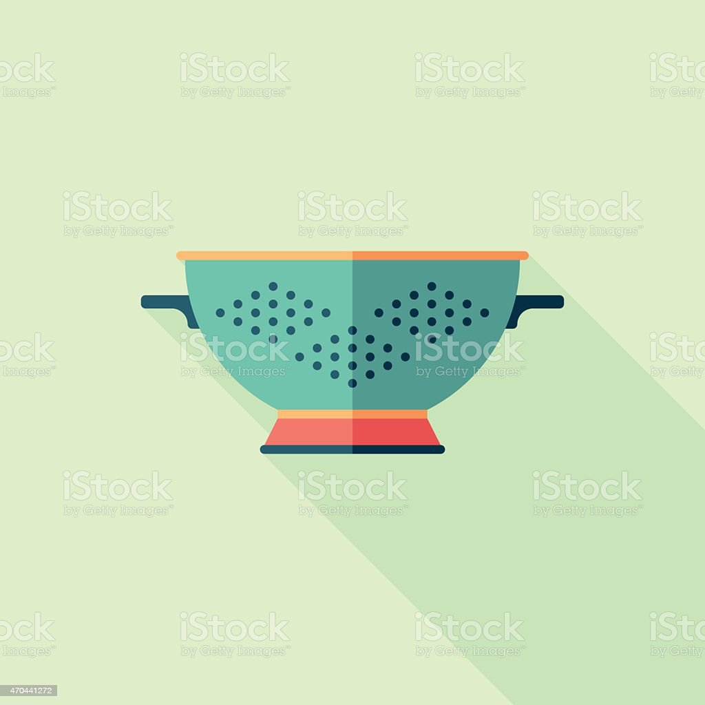 Colorful colander flat square icon with long shadows. vector art illustration