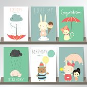 Colorful collection for banners,Flyers,Placards with bear,cat,girl,cloud and rain