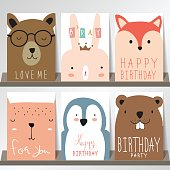 Colorful collection for banners,Flyers,Placards with fox,rabbit,penguin and bear