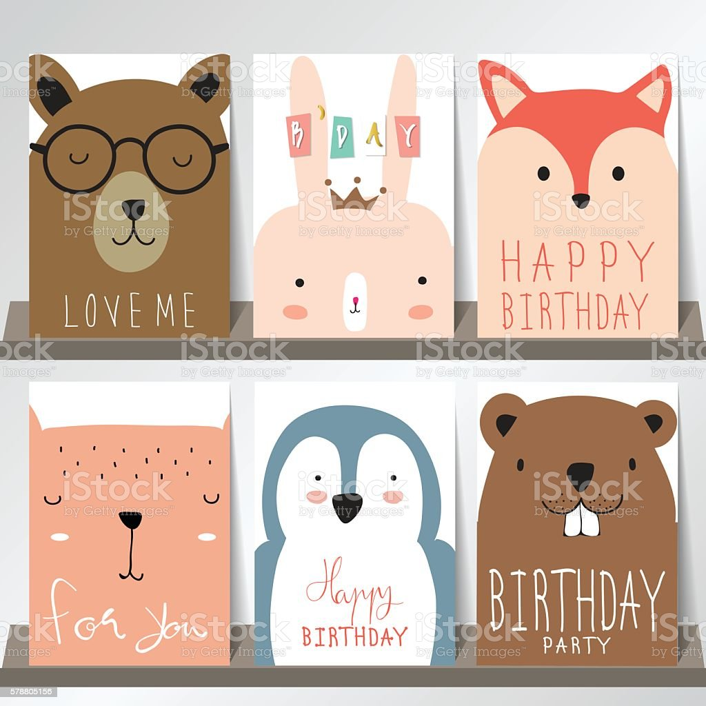 Colorful collection for banners,Flyers,Placards with fox,rabbit向量藝術插圖