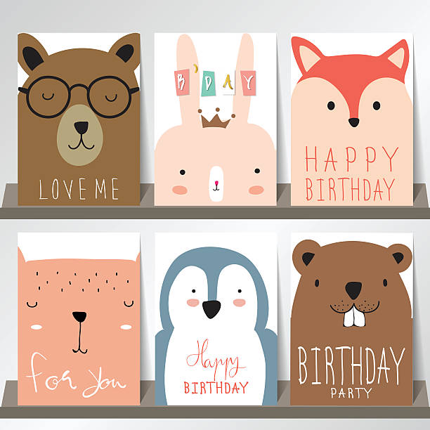 colorful collection for banners,flyers,placards with fox,rabbit - wunschkinder stock-grafiken, -clipart, -cartoons und -symbole