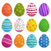 Colorful collection of Easter eggs with shadow isolated on white background. Vector illustration