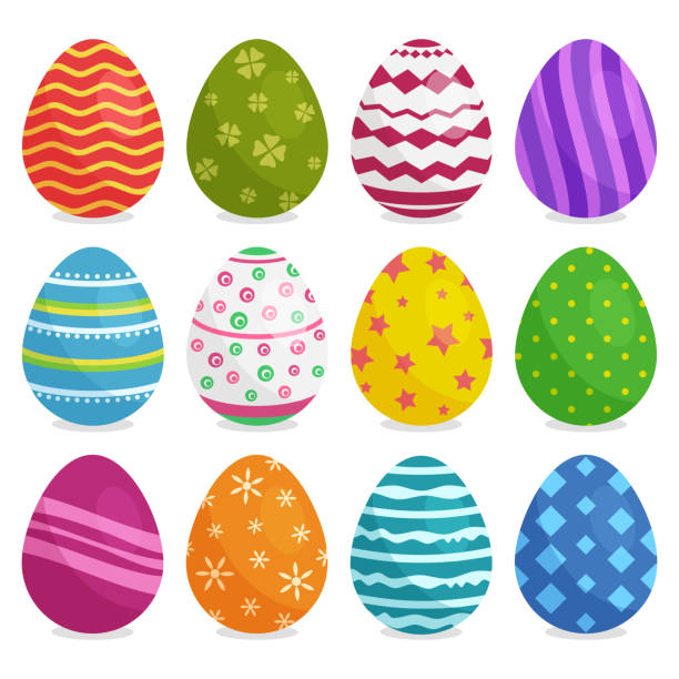 Colorful collection of Easter eggs with shadow. Vector illustration Colorful collection of Easter eggs with shadow isolated on white background. Vector illustration egg stock illustrations