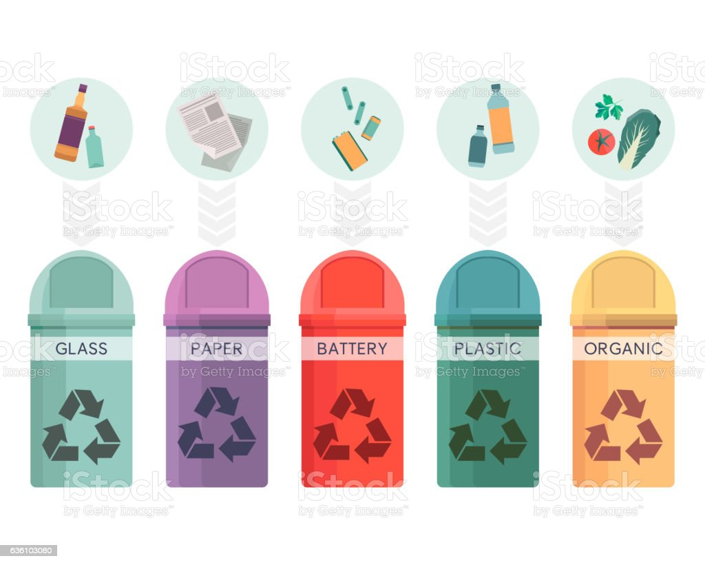 Colorful collection of garbage bins. Recycle containers set for sorted vector art illustration