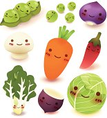 Colorful collection of smiling fruit and vegetable cartoons