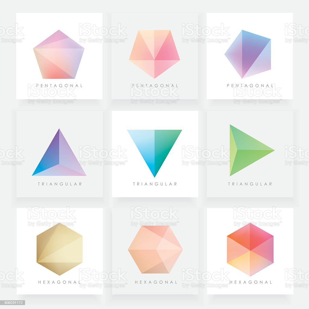 Colorful collection set of soft mesh facet crystal gem designs vector art illustration