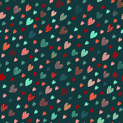 Colorful colored hearts seamless pattern, abstract geometric shapes, silhouettes, doodle drawing.