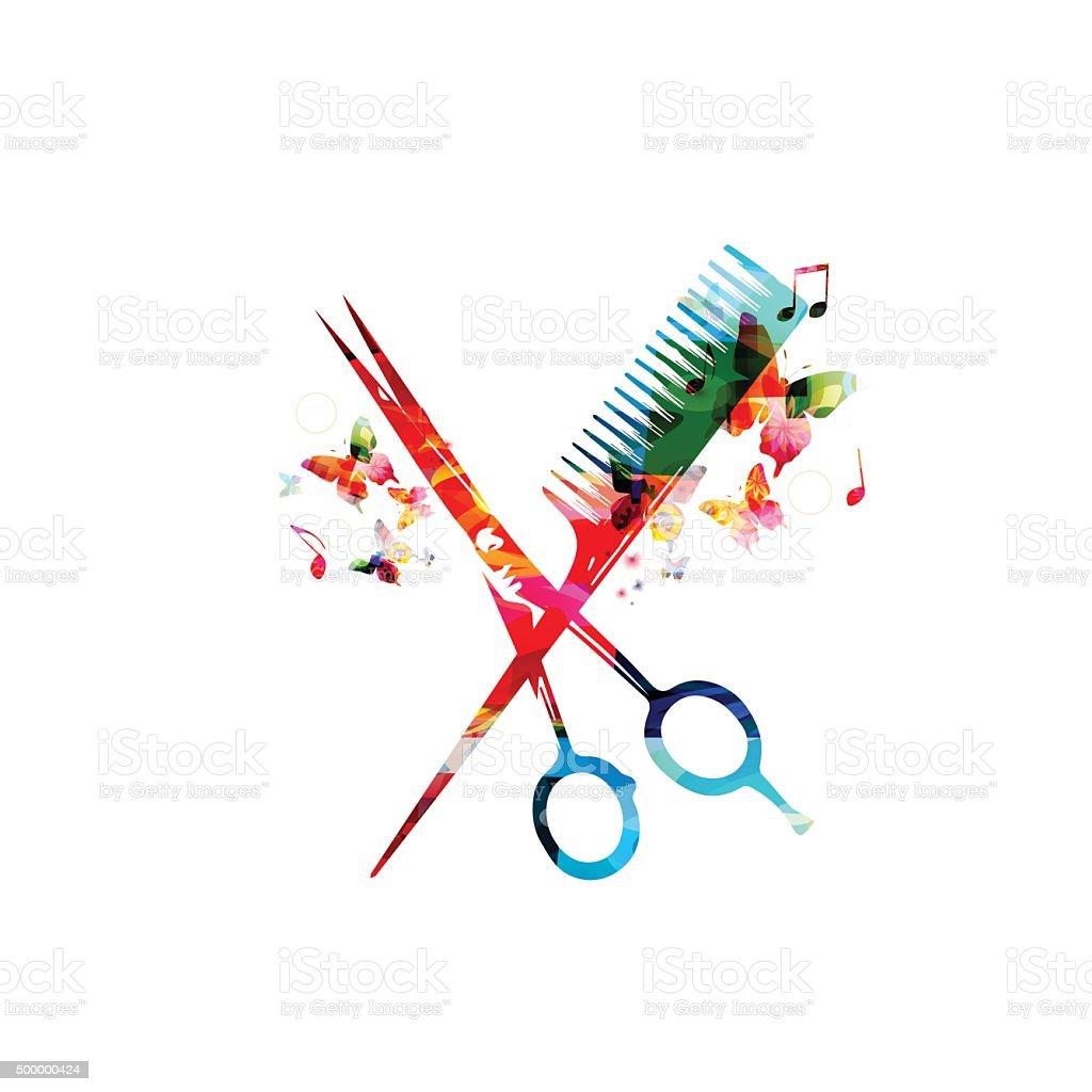 Colorida e pente de tesouras de design - ilustração de arte em vetor