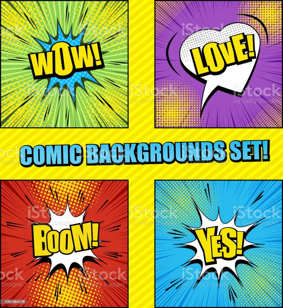 Colorful Comic Backgrounds Set Stock Vector Art & More