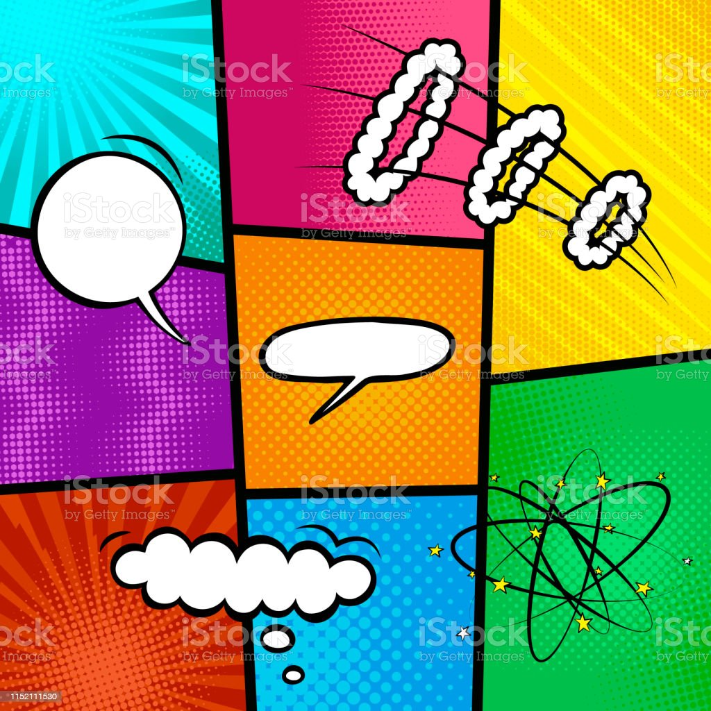 Colorful Comic Book Background Blank White Speech Bubbles Of