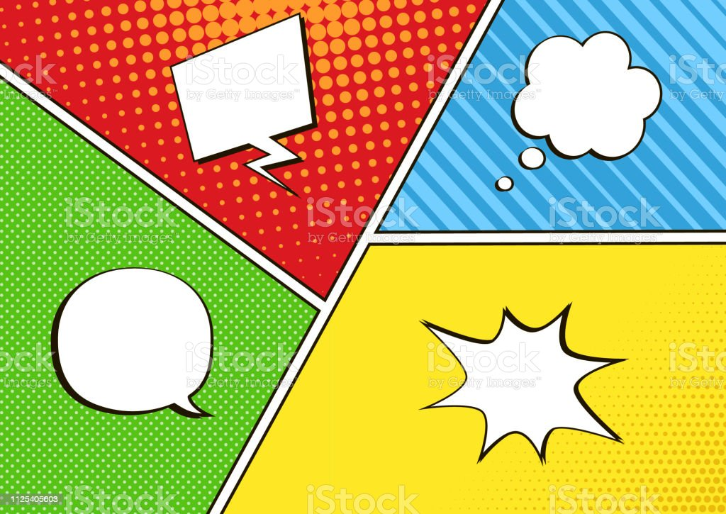 Colorful Comic Book Background With Empty White Speech Bubbles Of