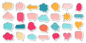 Colorful comic speech bubble vector set in cartoon style. Blank balloons and clouds for messages or comments. Collection of square, round, restangle shapes.