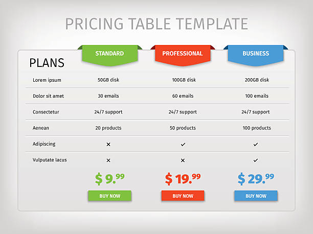 colorful comparison pricing table template - pricing infographics stock illustrations, clip art, cartoons, & icons