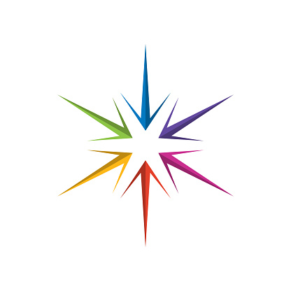 Colorful compass wind rose vector icon