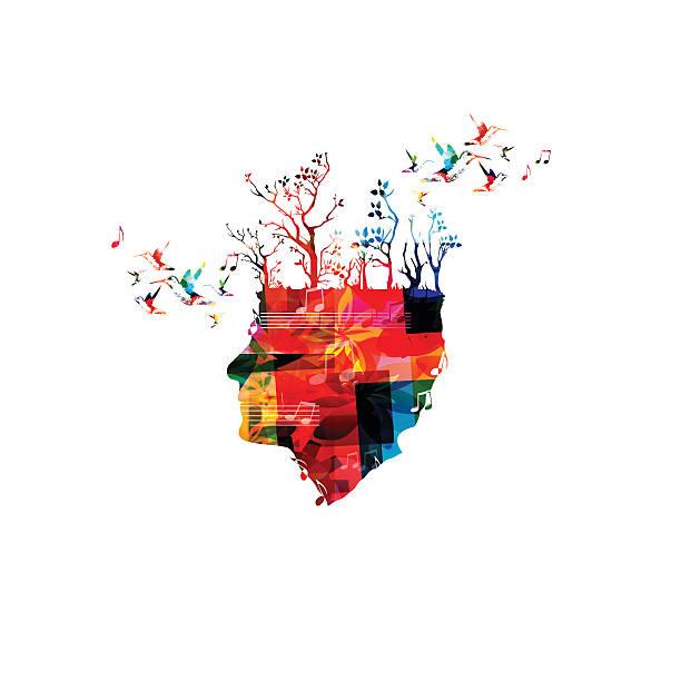 kolorowe kompozytor głowy z drzewa i kolibry - harmonia instrument stock illustrations