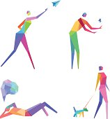 Vector Illustration of Colorful Polygonal People with transparency in eps10