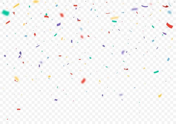stockillustraties, clipart, cartoons en iconen met kleurrijke confetti en lint vieringen ontwerp geïsoleerd op transparante achtergrond - confetti