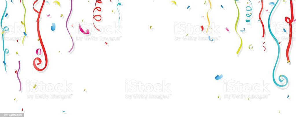 Colorful confetti and streamer on white background vector art illustration