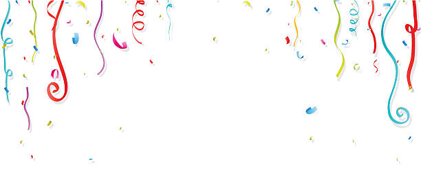 colorful confetti and streamer on white background - streamer stock illustrations, clip art, cartoons, & icons
