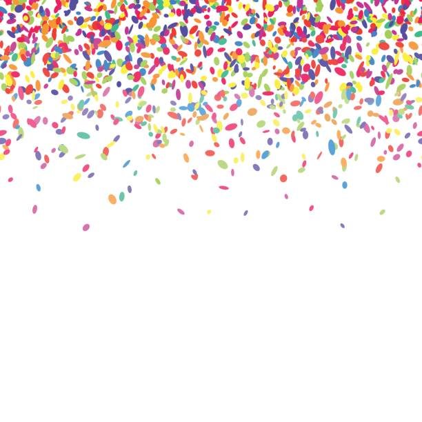 Colorful confetti background. Abstract background with colorful confetti. Vector illustration of many falling sprinkles. Seamless border pattern. Isolated on white. anniversary borders stock illustrations