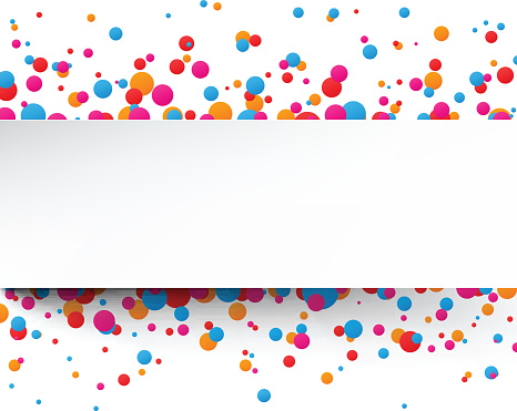 Colorful confetti celebration background with white stripe