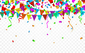 Colorful confetti. Celebration carnival. Party background with flags. Luxury greeting card. Vector illustration.