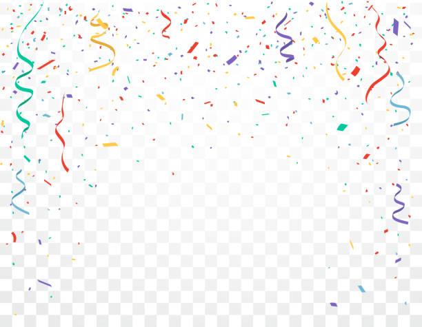 ilustrações, clipart, desenhos animados e ícones de as celebrações coloridas do confetti projetam isolado no fundo transparente - carnaval